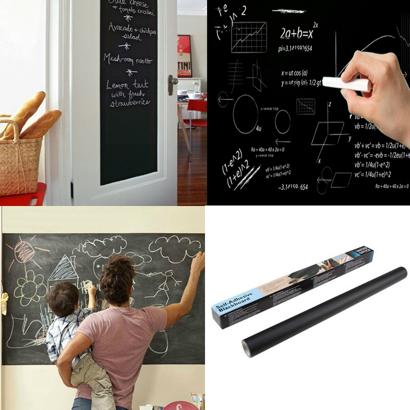 Hot Black 45x200 / 100cm Chalk Board Removable Vinyl Decals - Hjemmedekorasjon