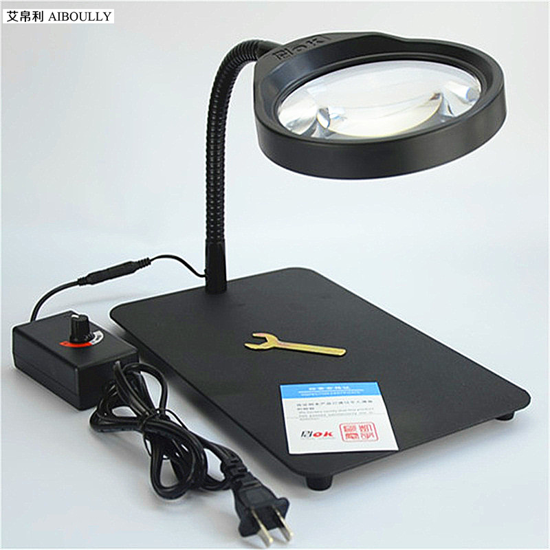 Desktop Large Size HD Magnifier With LED Lamp 10 Times Full Metal Electronic Maintenance Desk Lamp Tool Dimmable eye ProtectionDesktop Large Size HD Magnifier With LED Lamp 10 Times Full Metal Electronic Maintenance Desk Lamp Tool Dimmable eye Protection