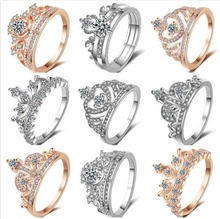 Women Crown Ring Fashion crystal Finger Jewelry Wedding Banquet Accessories Love Gift