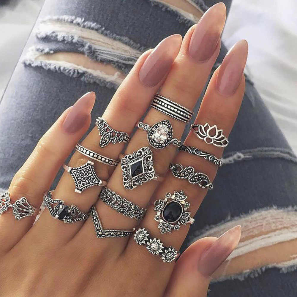 Bohemian โบราณเงินช้างใบดอกไม้ Rose แหวนมงกุฎหัวใจชุดคริสตัลคริสตัล Knuckle Finger Midi แหวนเครื่องประดับ