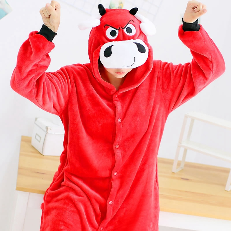 Red OX Bull Pajama Set Women Men Unisex Adult Animal Pijama Flannel Onesie Cosplay Sleepwear Hoodie Halloween Holiday Costume