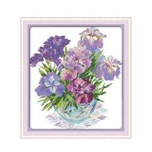 11CT 14CT Count Grid Embroidered Cloth Hand-stitch Embroidered Beautiful Vase Violet Iris Flower diy DMC Embroidery Embroidery(China)