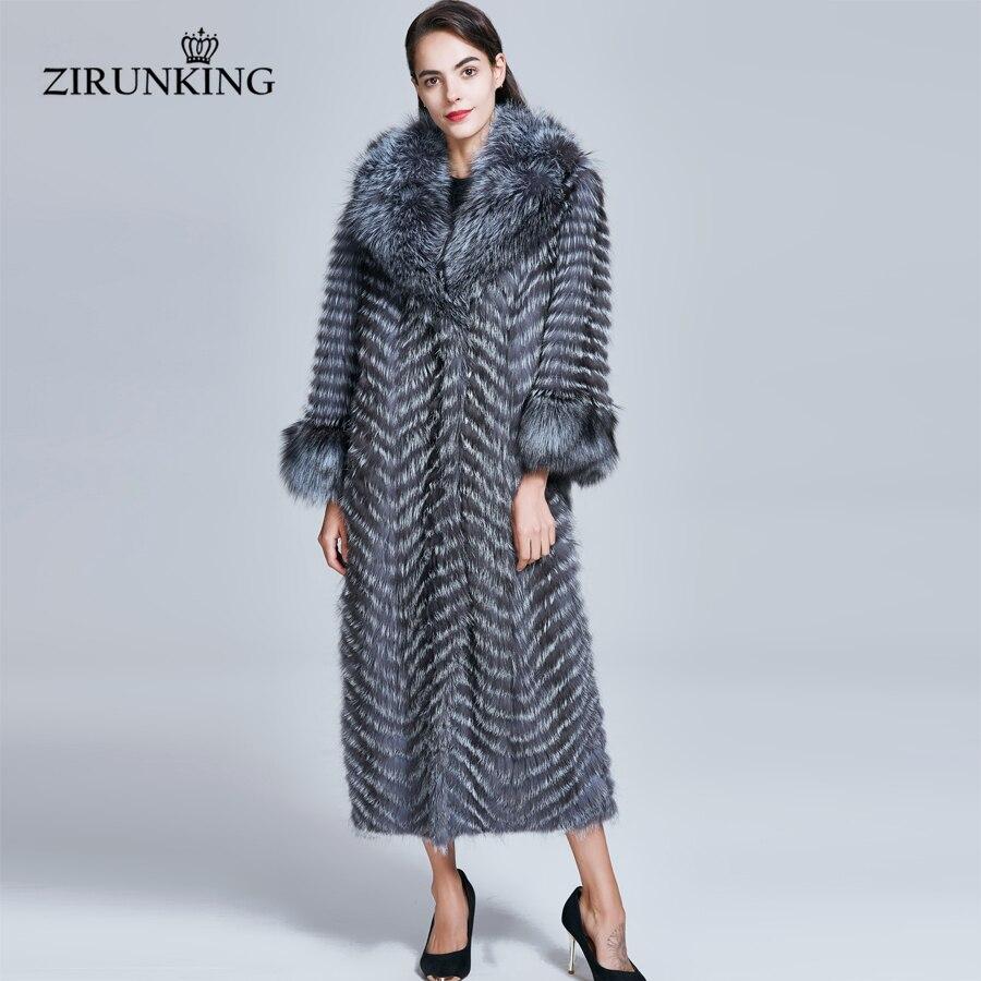 ZIRUNKING длинное натуральное меховое пальто для женщин из натурального меха серебристой лисы женские парки из лисы верхняя одежда женская оде...