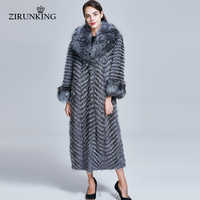 ZIRUNKING Lange Echt Pelzmantel Frauen Natürliche Silber Fuchs Pelz Mäntel Weiblichen Fuchs Parkas Outwear Frauen Kleidung ZC1728