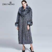 ZIRUNKING Long Real Fur Coat Women Natural Silver Fox Fur Coats Female Fox Parkas Outwear Women Clothes ZC1728