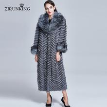 ZIRUNKING Long Real Fur Coat Women Natural Silver Fox Fur Coats Female Fox Parkas Outwear Women