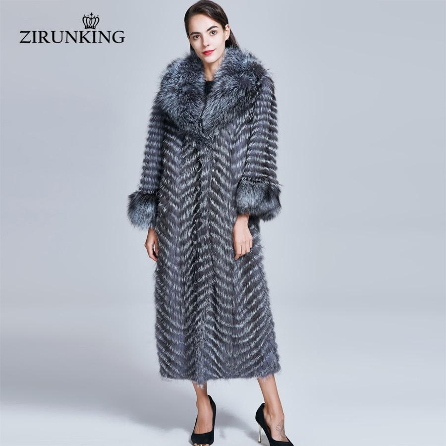 ZIRUNKING Long manteau de fourrure véritable femmes naturel argent fourrure de renard manteaux femelle renard Parkas Outwear femmes vêtements ZC1728