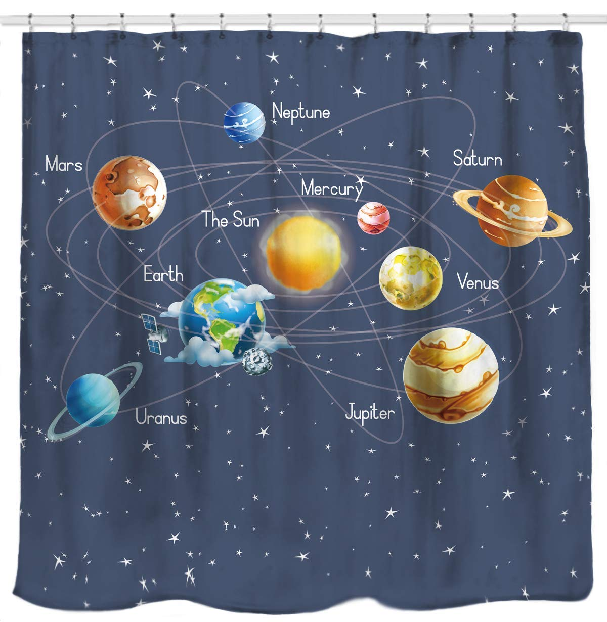 Solar system planets stars and milky way galaxy space fabric astronomical shower curtain with - Galaxy and planets ...