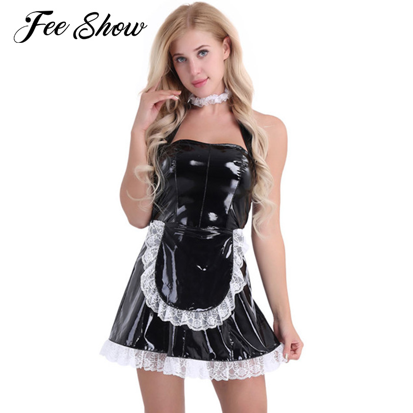 cdc0c1bebcc Womens Sexy Costumes Wet Look Patent Leather Maid Uniform Costume Dress  Clubwear Cosplay Role Play Costumes