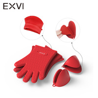 EXVI Extreme Heat Resistant Barbecue Oven Glove And Oven Pinch Mitt Thick Silicone Kitchen Cooking BBQ