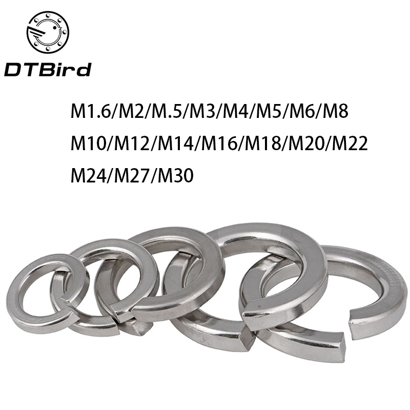 100pcs GB93 M1.6 M2 M2.5 M3 M4 M5 M6 M8 M10 M12 M14 M16 M18 M20 M22 304 Stainless Steel Spring Washer Split Lock Washers gb6170 86 304 201 stainless steel left thread reverse nut m4 m5 m6 m8 m10 m12 m14 m16 m18 m20 nut