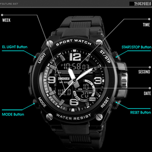 Image 4 - 2018 Skmei Luxury Brand Mens Sports Watches Dive 50m Digital LED Military Watch Men  Casual Electronics Wristwatches Relojes