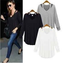 Women off shoulder long shirts sexy tops v-neck blouse Blusas Femininas long sleeve casual plus size