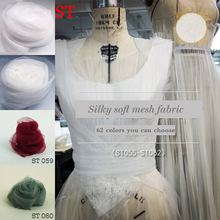3meter/lot nylon white Soft yarn fabric close-fitting handmade custom transparent wedding mesh DIY bridal veil material