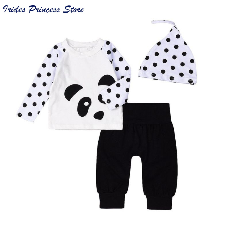 Newborn Baby Clothes Cute Infant Bebes Panda Dot T-shirt Tops + Pant Hat Outfit Clothing 3PCS Set baby girl clothes