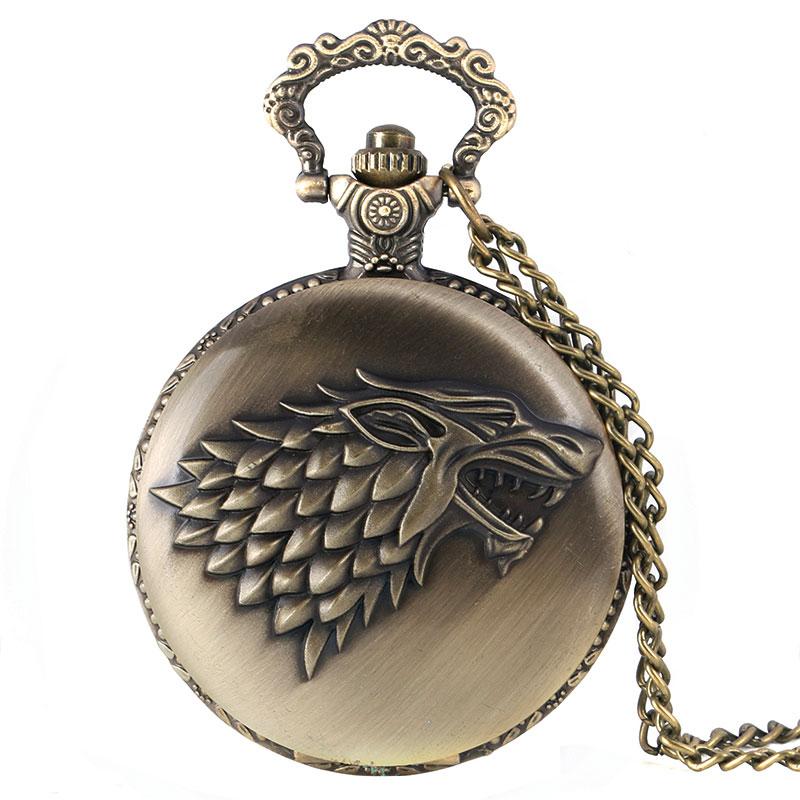 Lojë e re e Thrones Crest Dimri po vjen Dizajni Quartz Pocket Watch Vintage Fob Clock Burra Gratë Relogio De Bolso Masculino