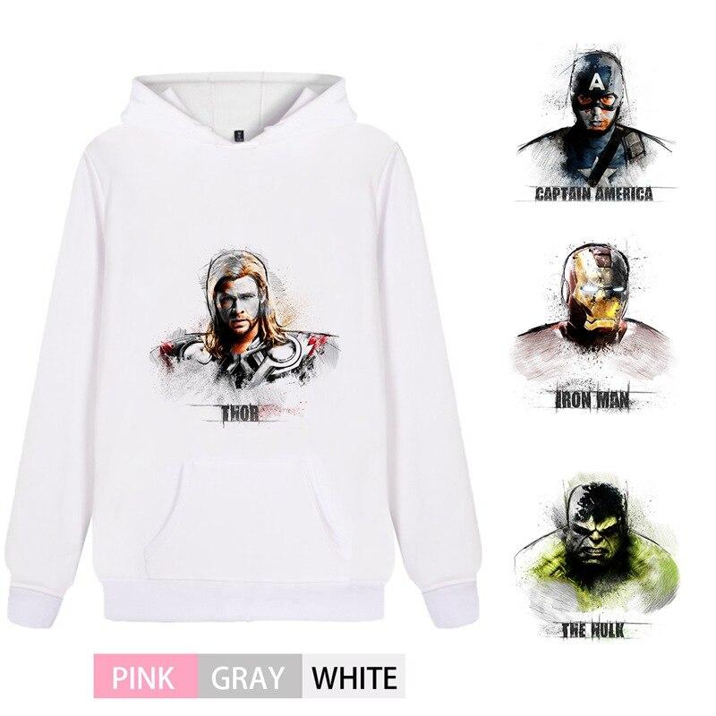 Marvel Comic Thor Captain Iron Man Hulk Cotton  Men/woman Outfit Hoodie Kangaroo Pocket Casual Unisex Sportswear A193291