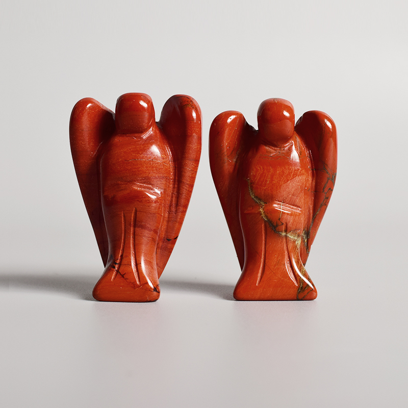 1 pcs Carved  Gemstone Angel Red jasper Hand Carved Semi-Precious Craft Angel Figurines For love peace home Decor
