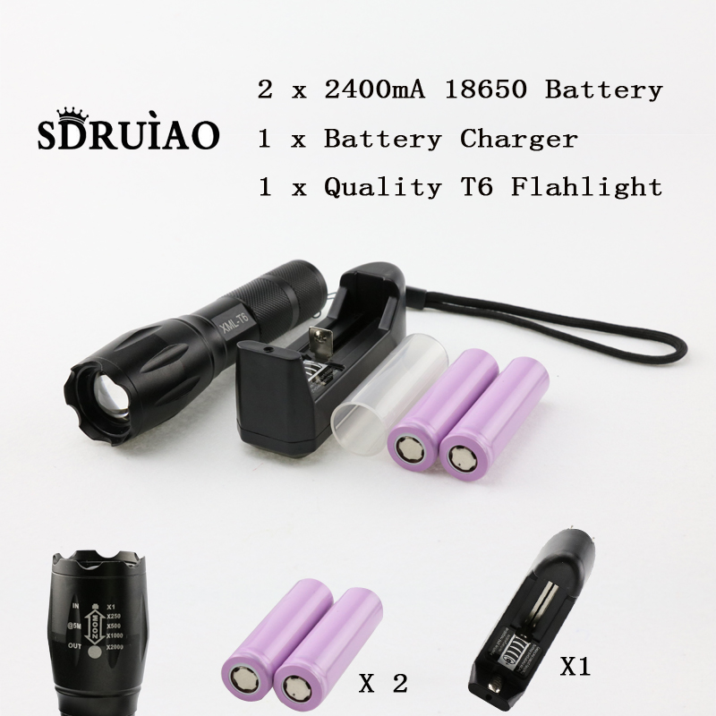 XM-L T6 4800LM Aluminum Zoomable CREE LED Flashlight Waterproof Torch light Suit With 2x  18650 Rechargeable Battery And Charger led flashlight torch 10 x cree xm l t6 10000lm led lamp wide range light with rechargeable 4 18650 4000mah battery and charger