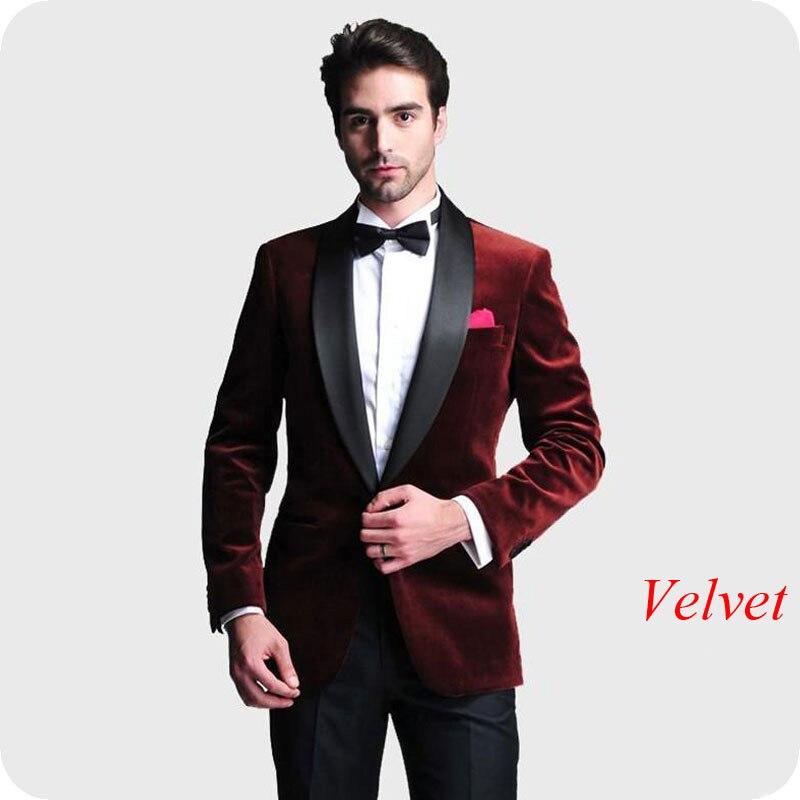 men suits for wedding velvet groom tuxedos (23)