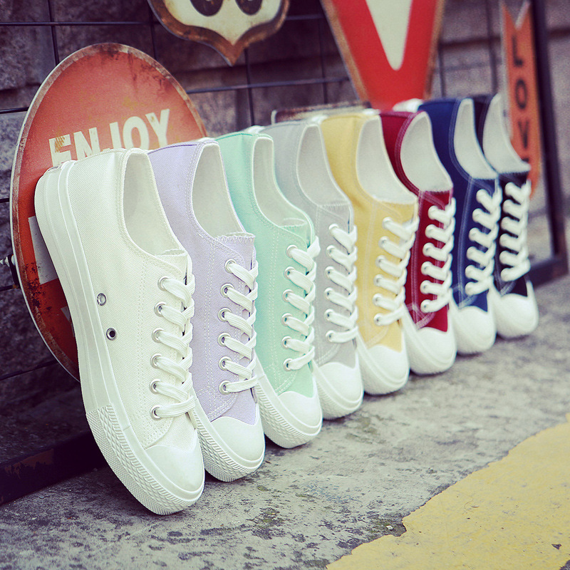 2018 new white women canvas shoes spring and summer white shoes women casual shoes students ...