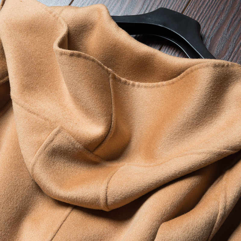 2019 Sonbahar Kış Saf Yün Ceket It Moman Rahat Kapşonlu Hırka El Yapımı Kaşmir Çift Taraflı Ceket uzun ceket kadın