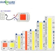 20 Вт, 30 Вт, 50 Вт, 100 Вт, 150 Вт, светодиодный чип COB, лампа переменного тока, 110 В, 220 В, умный IC, без водителя, полный спектр, светодиодный светильник для прожектора, растительный свет