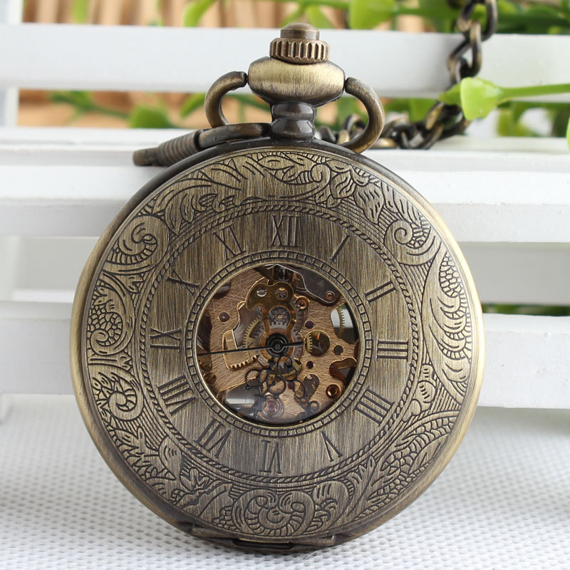 Vintage Bronze Hand Winding Mechanical Pocket Watch Double Open Side Roman Numbers Pendant for Men Women Birthday Gift TJX055