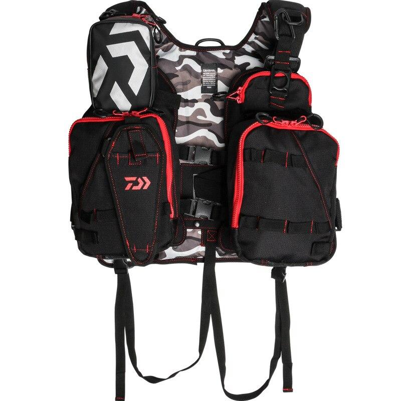 Daiwa gilet de pêche en plein air sac à dos taille unique pêche à la mouche gilet de sauvetage Multi poches hommes vêtements de pêche gilet réglable - 5