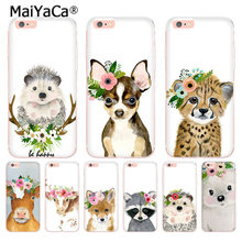 MaiYaCa Animal head wearing flowers hedgehog cow dog fox phone case for Apple iPhone 8 7 6 6S Plus X 5 5S SE XS XR XSMAX(China)