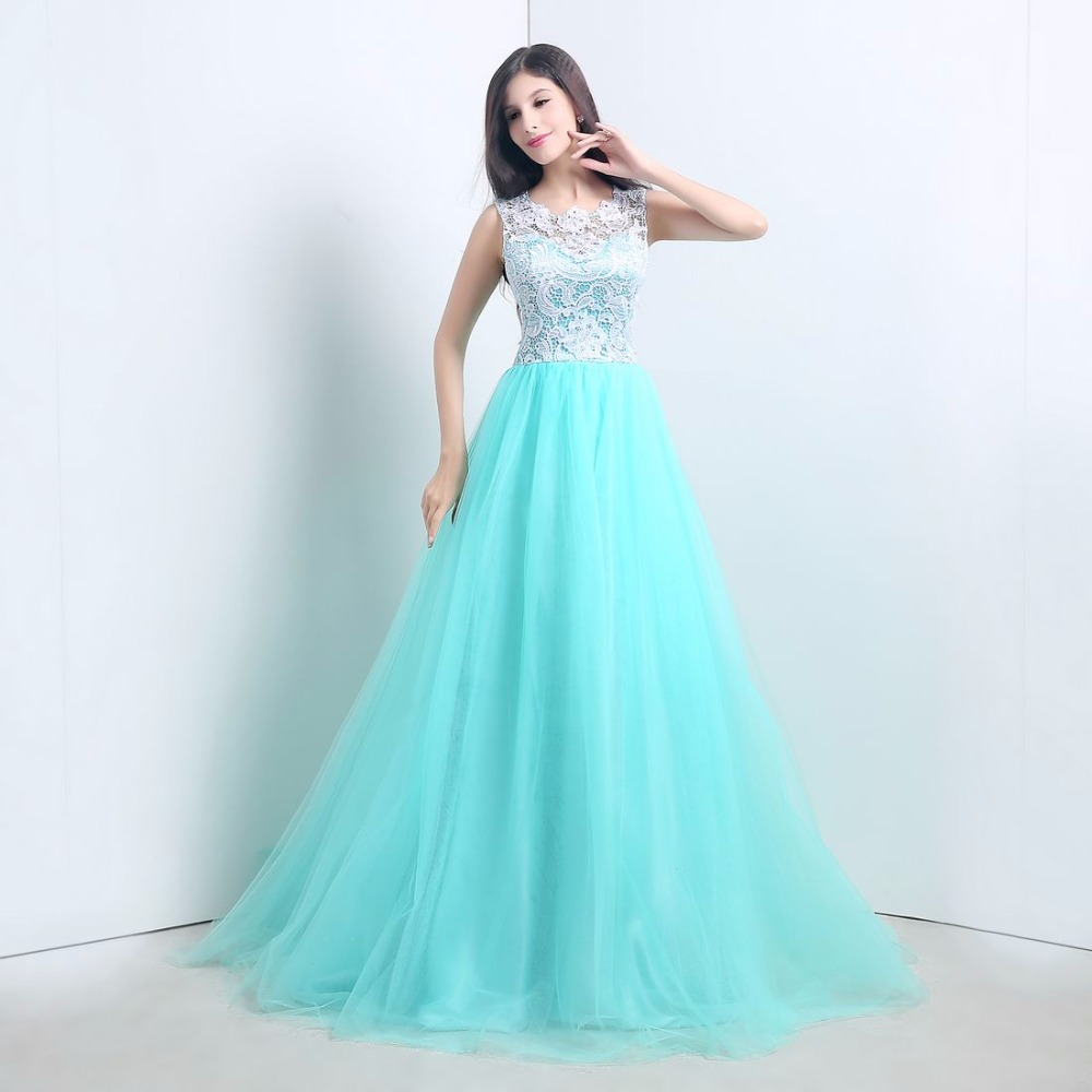 In Stock Lace A-Line Prom Dresses Floor-Length Sweep Train Evening Dress Free Shipping 1094