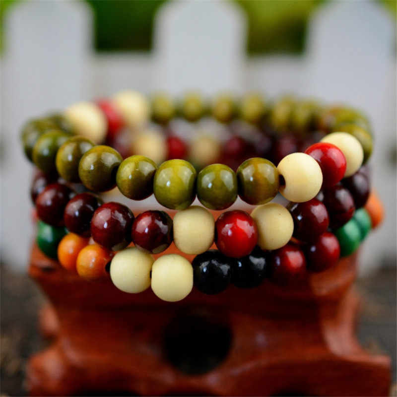Urok modlitwa drewno koralik bransoletka buddy regulowane bransoletki różaniec mężczyźni kobiety joga biżuteria cena hurtowa