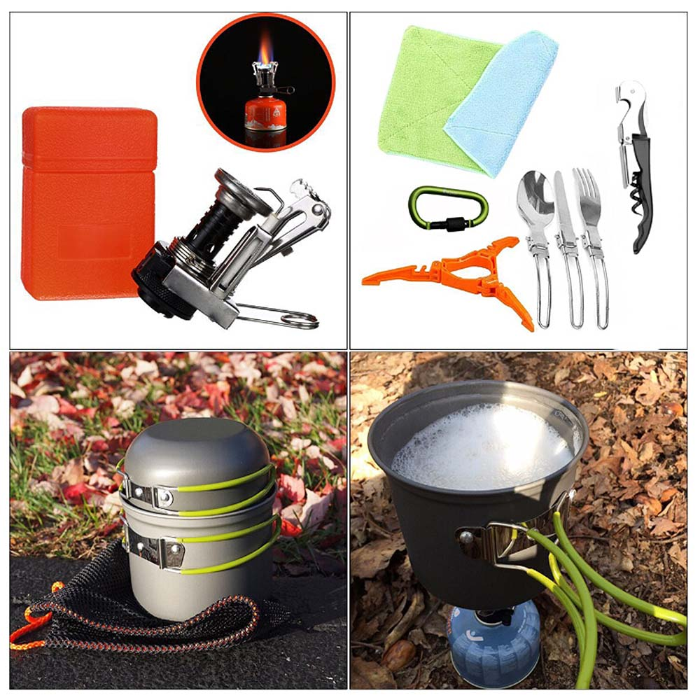 New Outdoor Picnic Pots Pans BBQ Grills Cookware Cooking Set Camping Non-stick Tableware