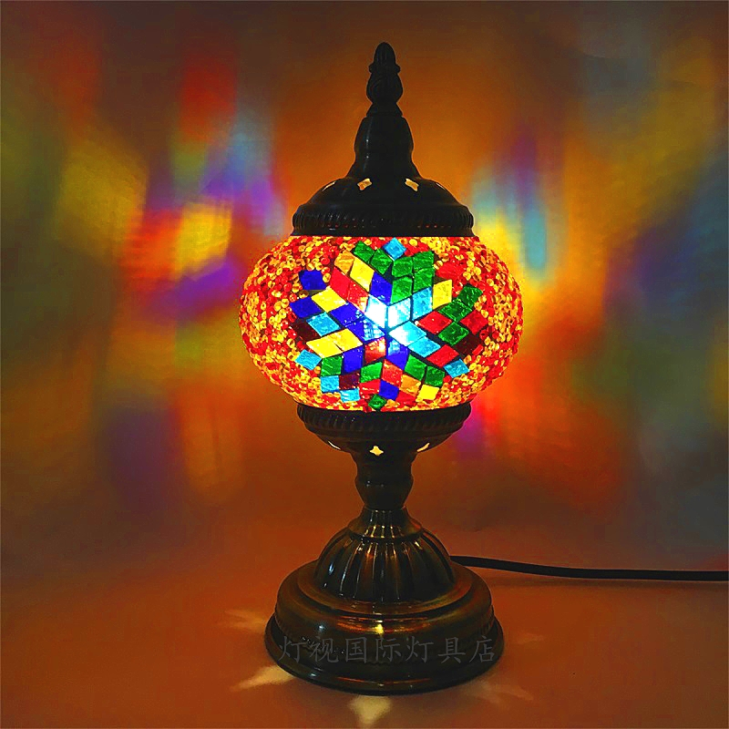 Newest E14 Hand inlaid glass mosaic bedroom living room decorative Table Lamps of Mediterranean style Turkish Lamps