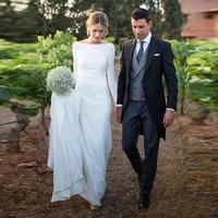 Simple Backless Wedding Dresses Long Sleeves Elegant Country Western Women Beach Bridal Gowns Custom Made