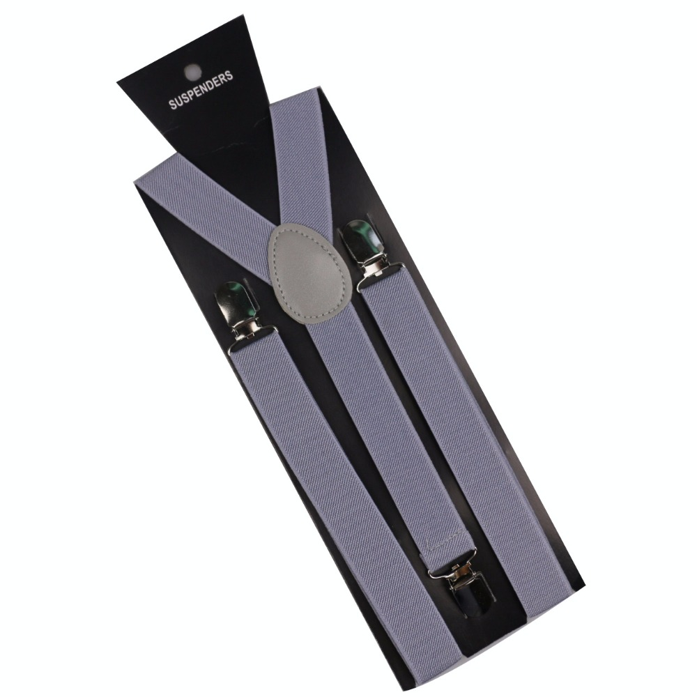Winfox Male 1 Inch Wide Adjustable Clip-on Y-Back Elastic Black Red Grey Navy Braces Suspenders Mens Women