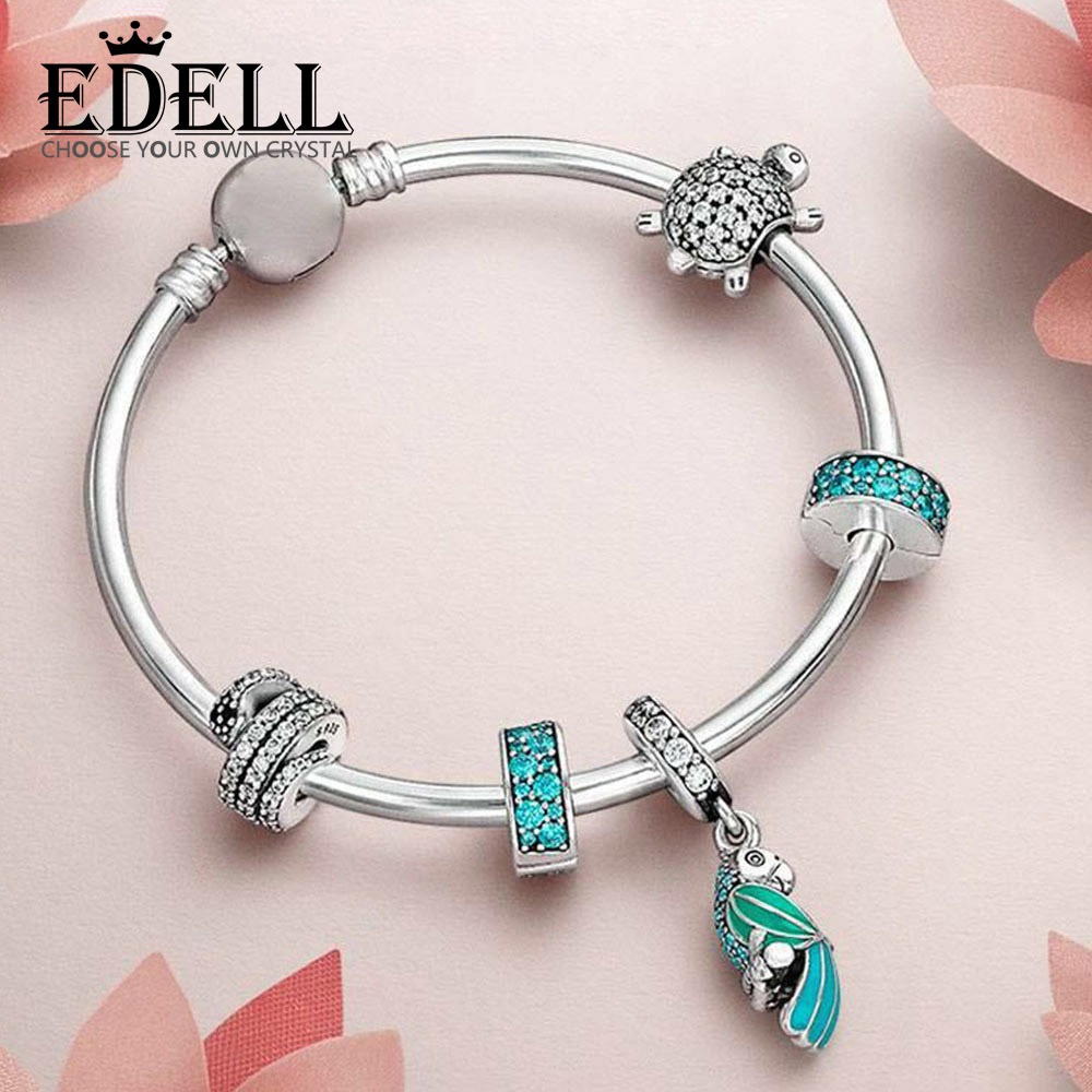 EDELL 100% 925 Sterling Silver 1:1 Turtle with cubic zirconia Beaded TROPICAL PARROT HANGING CHARM Bangle Natural Charm Gift SetEDELL 100% 925 Sterling Silver 1:1 Turtle with cubic zirconia Beaded TROPICAL PARROT HANGING CHARM Bangle Natural Charm Gift Set