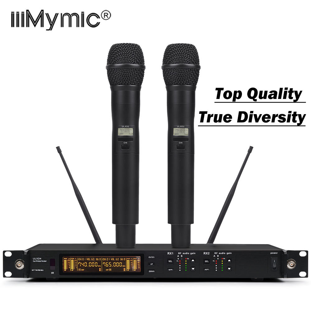 Shock-proof Design !! Top Quality ULXD4 Style UHF Wireless Microphone System Dual KSM9 Handheld Mic Professional For Stage