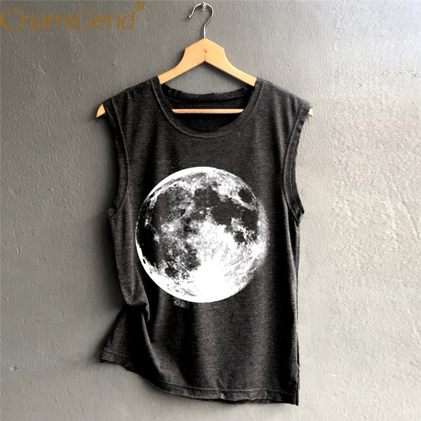 Casual Moon Print Women Sleeveless   Tank     Top   Hot Summer Casual Shirt Woman Streetwear Vest   Tops   S,M,L,XL,2XL 90228