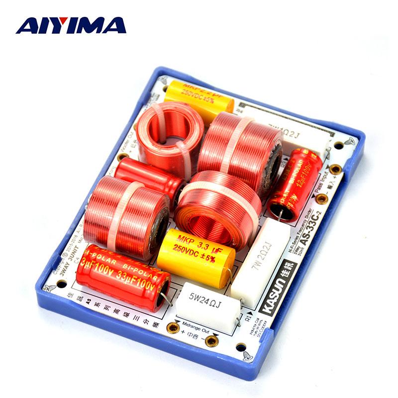 Prix pour AIYIMA 2 pcs 3 Voies Diviseur de Fréquence Crossover KASUN AS-33C 3Way 3 Unité HiFi Haut-Parleur Diviseurs De Fréquence Crossover Filtres