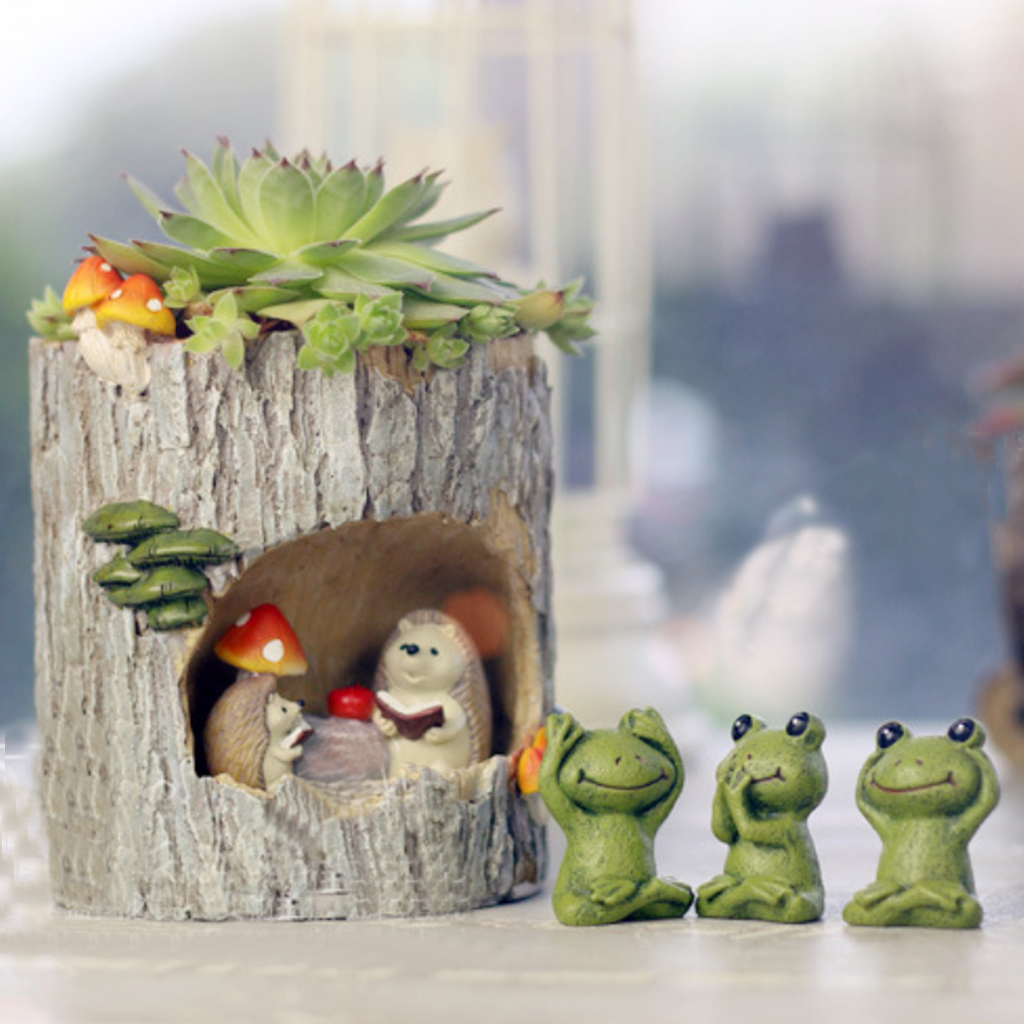 Cute Hedgehog Flower Sedum Succulent Pot Planter Bonsai Trough Box Plant Bed Desk Home Decorations Creative Birthday Gifts