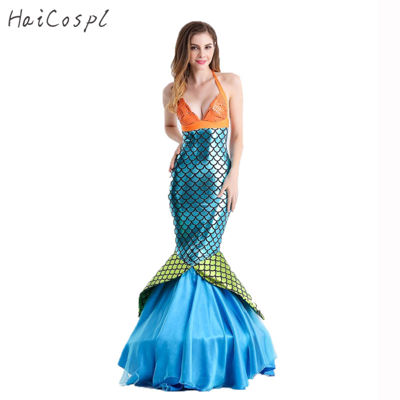 Women Mermaid Costume Sexy Dress Women Mermaid Tail Dresses Halloween Beach Cosplay Costumes Adults Evening Party Stage Show