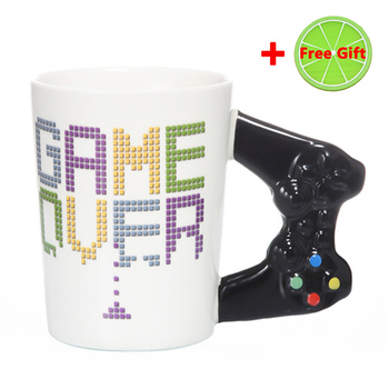 New 380mL Creative Game Over Coffee Mug 3D Game Controller Handle Mug Ceramic Cup Milk Tea Mugs Gameboy Birthday Christmas Gift 7
