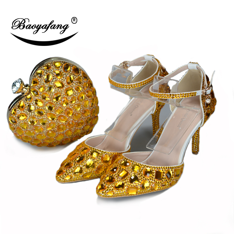 BaoYaFang 2018 New arrive Golden Crystal wedding shoes and bags Ladies Party shoes Fashion shoes with matching bags ankle strapBaoYaFang 2018 New arrive Golden Crystal wedding shoes and bags Ladies Party shoes Fashion shoes with matching bags ankle strap