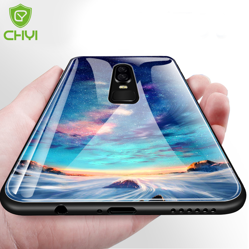 CHYI glass case for Xiaomi mi8 pattern case for Xiaomi 8 SE Luxury Protective Shockproof silicone cover edge for xiaom 8