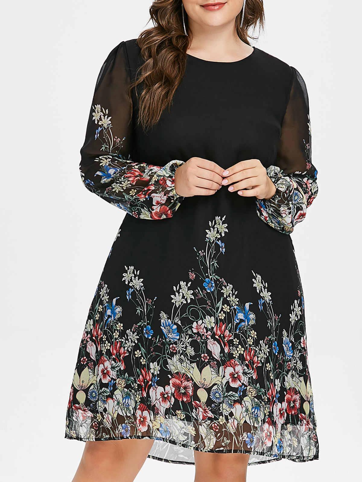 82e8290528bef29 Wipalo 2019 Осень женское шифоновое платье с длинным рукавом с круглым  вырезом Повседневное платье черный плюс