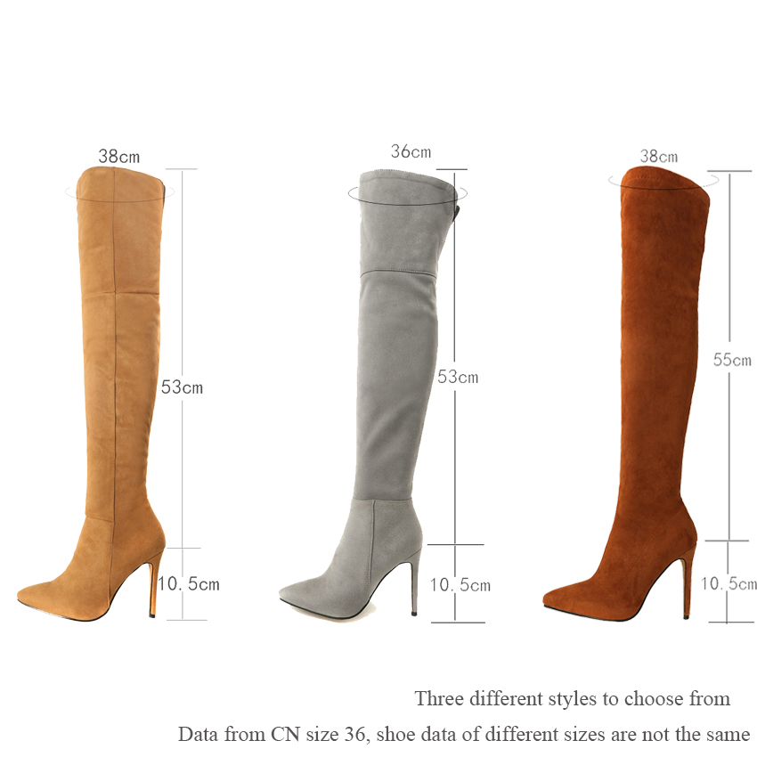 Eokkar 2020 Women Over The Knee High Boots Super Thin High Heel Pointed Toe Winter Boots Warm Inside Ladies Boots Size 34 43 in Over the Knee Boots from Shoes