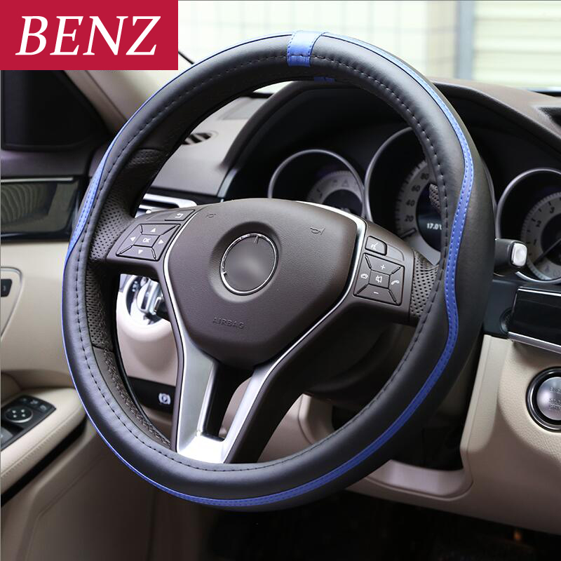 38CM Car Styling Steering Wheel Cover For Mercedes Benz A C E Class GLE GLA W164 W219 W209 W230 W203 W211 W204 SLK CLK SLR AMG