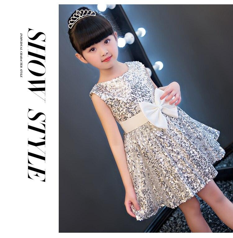 6288ac8794 Błyszczą Cekiny Dziewczyny Ubierać Mody Duży Łuk Princess Dress Pierwsza  Komunia Sukienki dla Dziewczynek Zroszony Puffy Strona Sukienka IY17 w  Błyszczą ...