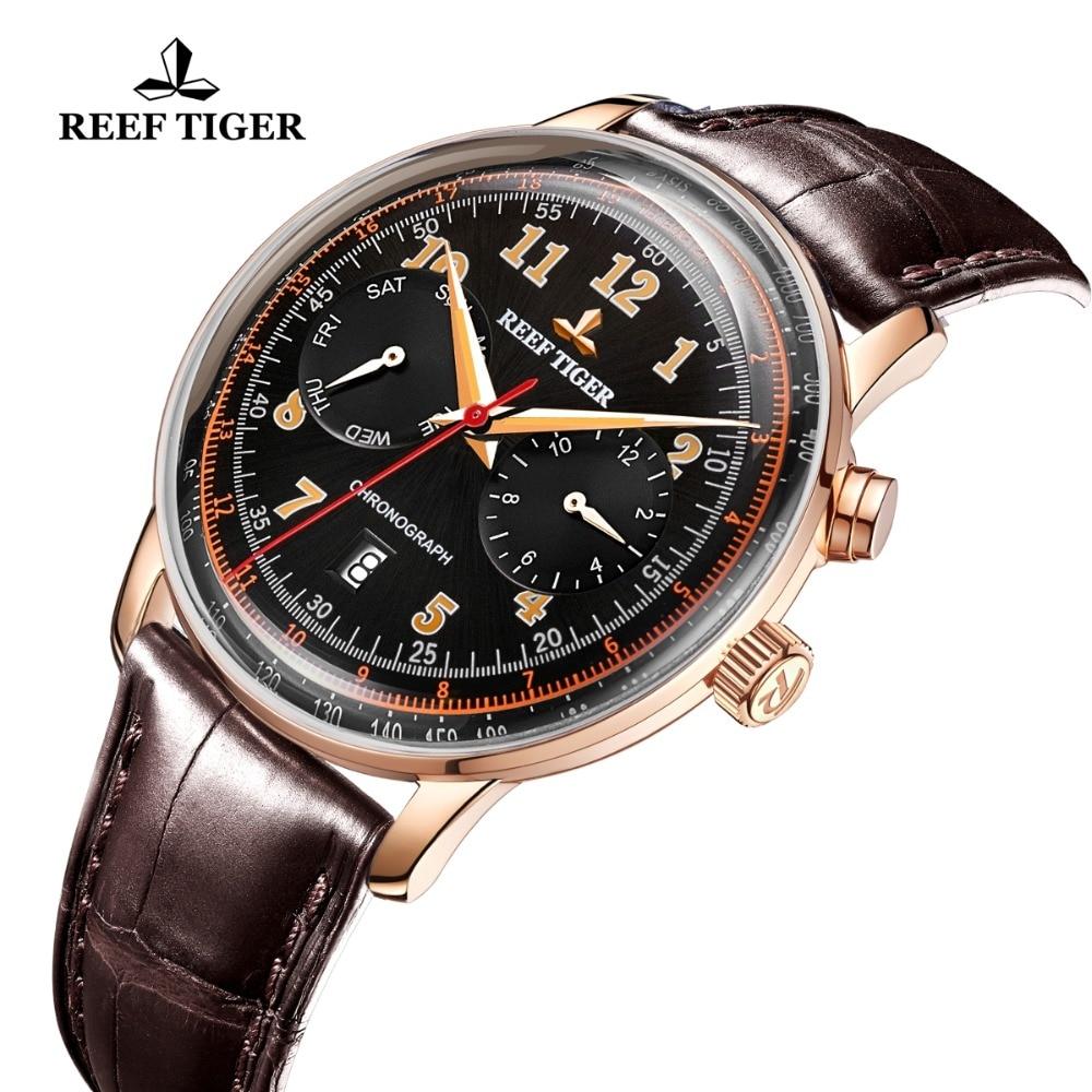 Риф Тигр/RT мужские классические часы для мужчин розовое золото многофункциональные часы сапфировое стекло автоматические часы RGA9122 - 3
